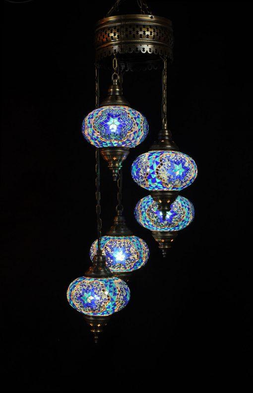 Oosterse Turkse lamp blauw turquoise 5 bollen