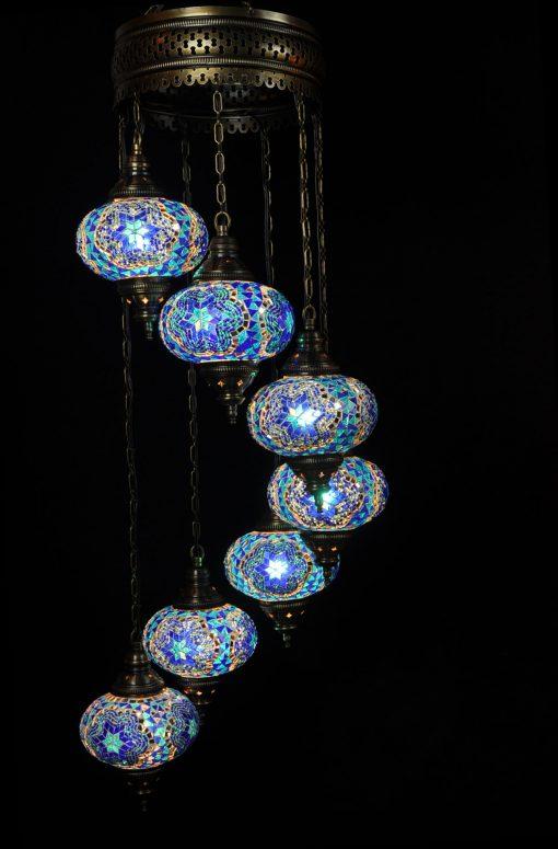 Oosterse Turkse lamp blauw 7 bollen