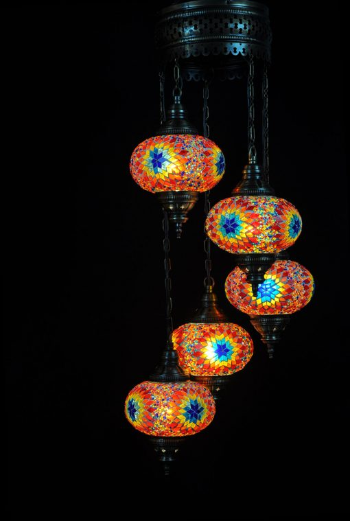 Oosterse Turkse lamp multicolour 5 bollen