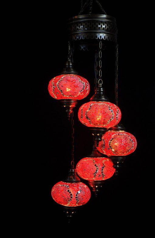 Oosterse Turkse lamp rood 5 bollen