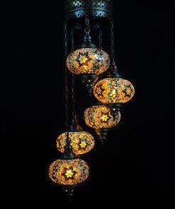 Oosterse Turkse lamp bruin 5 bollen