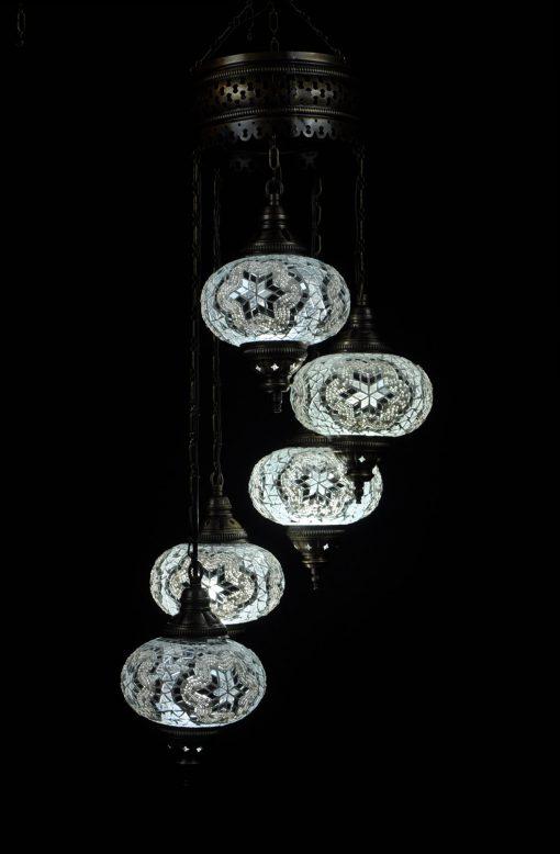Oosterse Turkse lamp wit 5 bollen