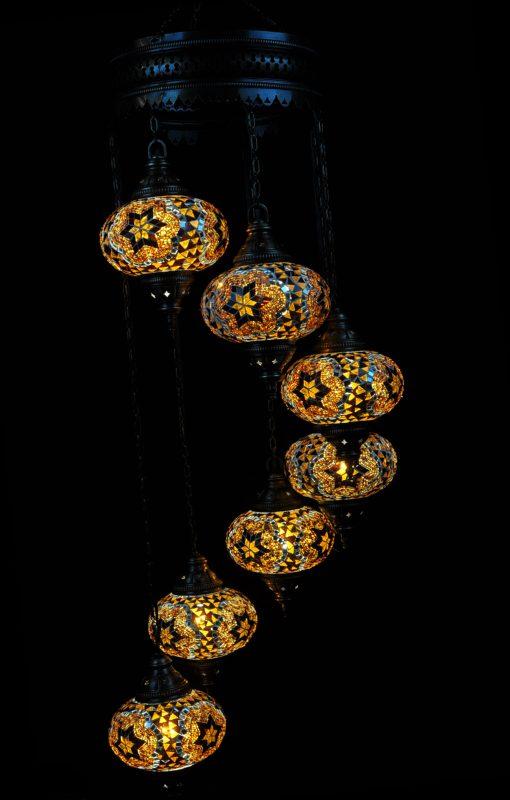 Oosterse Turkse lamp bruin 7 bollen