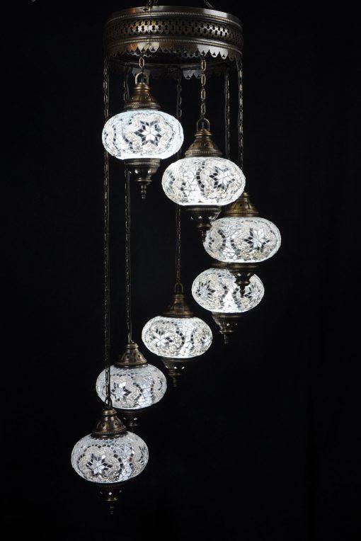 Oosterse Turkse lamp wit 7 bollen