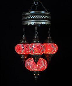 Oosterse Turkse lamp rood 4 bollen
