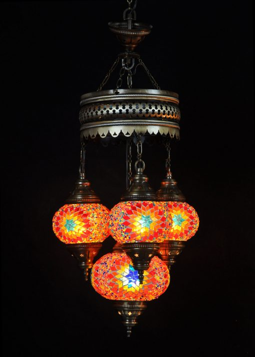 Oosterse Turkse lamp multicolour 4 bollen