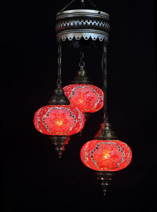 Oosterse Turkse lamp rood 3 bollen