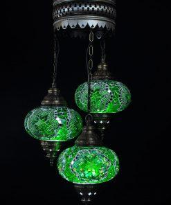 Oosterse Turkse lamp groen 3 bollen