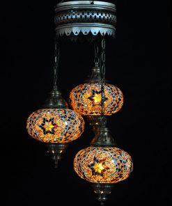 Oosterse Turkse lamp bruin 3 bollen