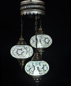Oosterse Turkse lamp wit 3 bollen
