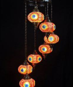 Oosterse lamp multicolour 7 bollen - Turkse lamp multicolour 7 bollen - Lifestyle Trading