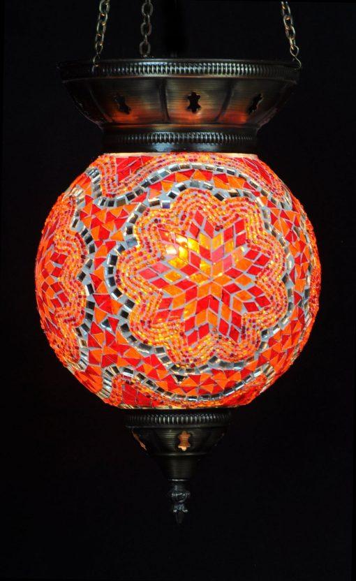 Türkische Hängelampe Rot-Orange Ø 25 cm