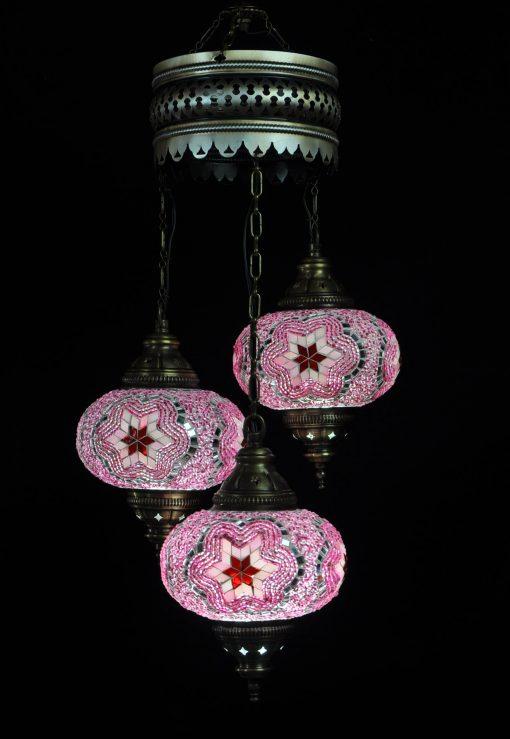 Oosterse lamp roze 3 bollen - Turkse lamp roze 3 bollen - Lifestyle Trading