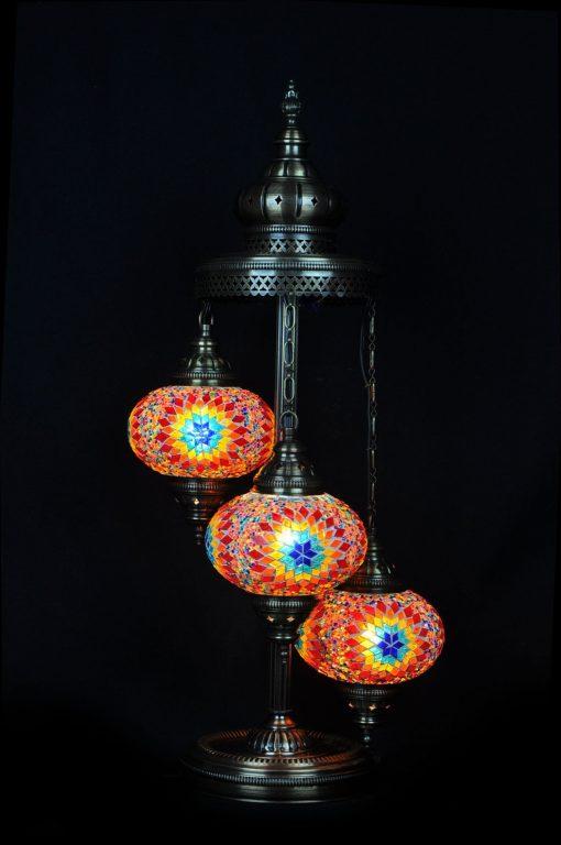 Türkische Stehlampe 3 Kugeln Mehrfarbig (b) - Lifestyle Trading