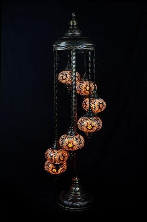 Turkse vloerlamp 7 bollen mozaïek bruin - Lifestyle Trading