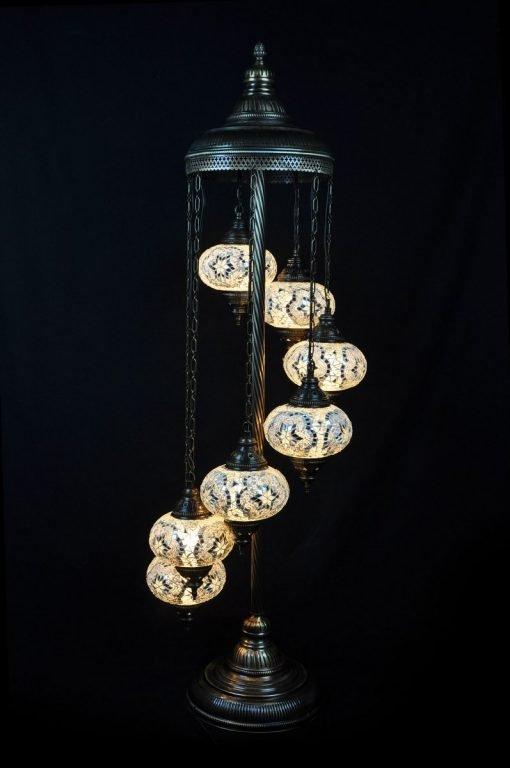 Turkse vloerlamp 7 bollen mozaïek wit - Lifestyle Trading