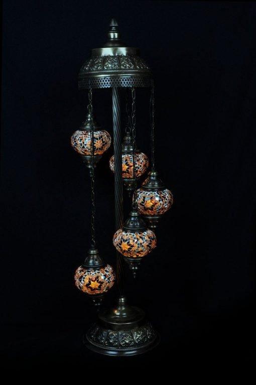 Türkische Stehlampe 5 Kugeln Braun - Lifestyle Trading