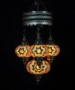Oosterse lamp bruin 4 bollen - Turkse lamp bruin 4 bollen - Lifestyle Trading