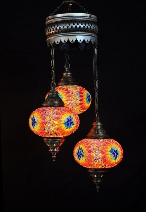 Oosterse lamp multicolour 3 bollen - Turkse lamp multicolour 3 bollen - Lifestyle Trading