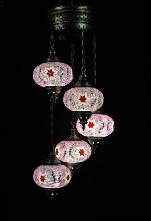Oosterse lamp roze 5 bollen - Turkse lamp roze 5 bollen - Lifestyle Trading